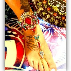 """Red &'Sky Blue """"Proudly Extra"""" Anklet /Hand Chain"""